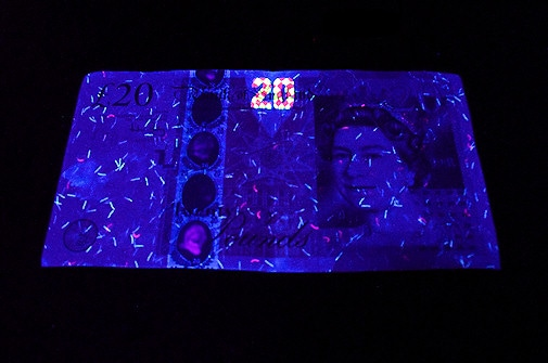 4. Under HIGH QUALITY UV  -   Shown Using a 365-375nm UV Lamp. These 'Professional' UV Lamps produce a Very High Quality UV source at 365nm; the optimum frequency for fluorescence. Very little visible light is produced to mask or interfere with the resulting fluorescence. Notice that with this 'pure' UV frequency the '20' and fibres are much brighter than with any other frequency.